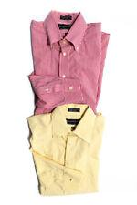 Joseph & Lyman Womens Long Sleeve Dress Shirts Yellow Red Size 16.5 Lot of 2