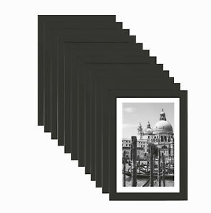 [Set of 12] 4x6 in Nouveau Black Photo Frame Simple Design Styrene Picture