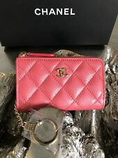 NWT CHANEL Pink Caviar O-key Holder Card Coin Zip O-Case 2018 18S GOLD POUCH NEW