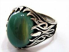 Turkish Ottoman Fire Vintage Agate Gemstone Solid 925 Sterling Silver Men Ring