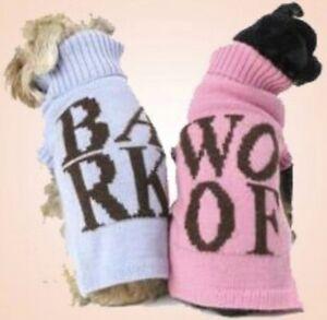 SALE !! £7.99 - £5.99 )Woof Or Bark Pet Jumper Sizes XSmall/ Small / Medium
