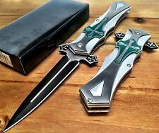 Spring Assisted Asst pocket knife Tactical Celtic Cross Green Alum Han with clip