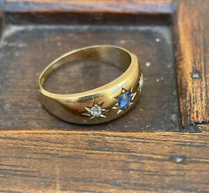 Victorian 18ct Gold Sapphire And Diamond Gypsy Ring