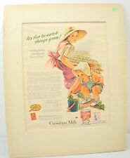 Vintage Carnation Milk Ad It's Fun To Watch Things Grow 1940's