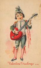 VALENTINE GREETINGS Boy & Heart-Shaped Guitar Valentine's Day ca 1910s Postcard
