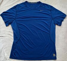 NIKE PRO COMBAT DRI FIT MEN'S BLUE FITTED SHORT SLEEVE COMPRESSION TOP: XXL