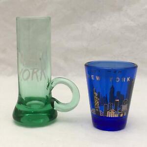 Lot of 2 Vintage Souvenir Shot Glasses NEW YORK Cobalt Blue &Tall Green w Handle