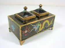 Antique Chinese Cloisonne Enameled Copper Double Inkwell Dragons Decoration