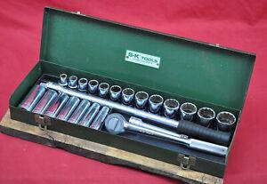 "Vintage S-K 1/2"" Drive 24-pc Socket Set w 42470 Ratchet Tool Box 7/16"" - 1-1/4"""