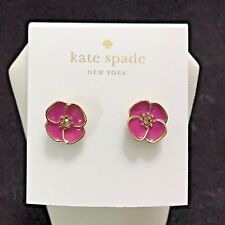 Kate Spade Flutter Floral Stud Earrings 12k GP Vivid Snapdragon Pink