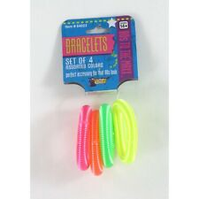 80's Coil Spring Costume Bracelets Eighties Party Bracelet Pack Of 4 CLOSEOUT