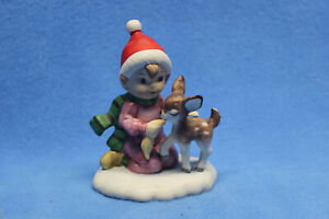 Vintage LEFTON Christmas Figurine Girl with Deer 03643