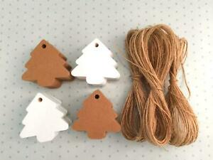 10/25/50/100 Christmas Tree Kraft White Paper Gift Tags Label Luggage  +Strings