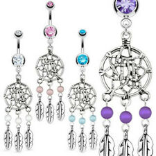 Dream Catcher Net with Bead Based Feathers Fancy Navel Belly Ring