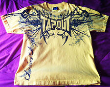 TAP OUT T-shirt BOYS Size L Yellow color Black writing TapOut American Arrogant