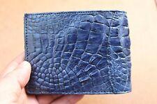 Blue Genuine CROCODILE, ALLIGATOR Skin Leather Money Clip Wallet for Men