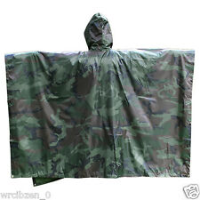 Military Camouflage Waterproof Rain Poncho Raincoat Camping Tent Multifunctional