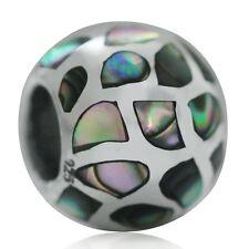 Abalone/Paua Shell Inlay 925 Sterling Silver European Charm Bead