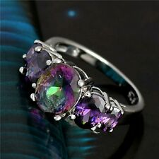 Mystic Topaz & Purple Amethyst ring size 9, 925 Sterling Silver Overlay