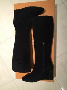 NEW Tod's Black Suede Ladies High Wedge Boot - Size 39.5 EU / 6.5 UK