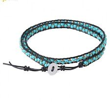 Ocean Stone Beaded Bohemian Wrap Leather Turquoise Jasper Bracelet Bangle Gift