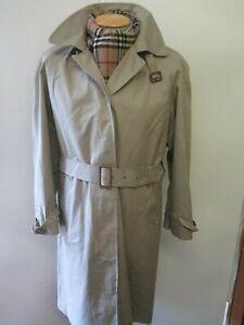 Vintage Aquascutum Light Olive Belted Raincoat Coat Mac Size UK 16 Euro 44