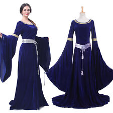Retro Women Renaissance Medieval Dress Blue Court Gown Halloween Costume