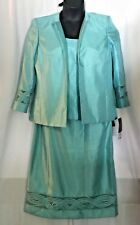 Kasper Women's Career Aqua Blue Polyester Blend 2 Piece Skirt Suit Size 12 NWT