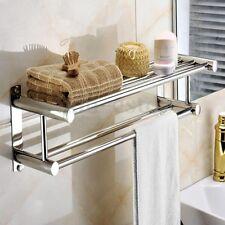 Bathroom Towel Rail Holder Rack Double Wall Mounted Shelf Bar Stainless Steel