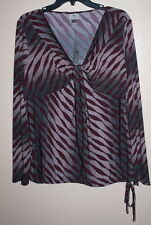 New Worthington Top Purple & Pink Geo Print Long Sleeves Gathered V-Neck Size L