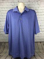 Footjoy Polo Shirt Men's XL Blue 100% Polyester/Spandex Blend EUC