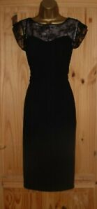 Black pink lace bodycon tummy tamer pencil wiggle party evening dress size 12 14