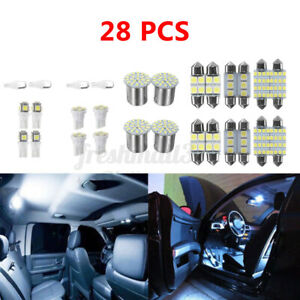 28X Combo LED Car Interior Inside Light Dome Map Door License Plate Lights White