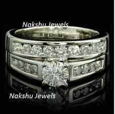 Ring Set 925 Sterling Silver 1.80Ct White Moissanite Chanel Set Engagement