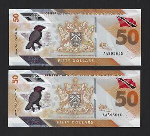 TRINIDAD & TOBAGO 50 Dollars 2020, AA-Prefix, Pack Fresh UNC Consecutive Pair