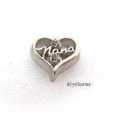 10pcs nana Heart Floating Charms Fit Living Memory Locket Free Shipping FC1357