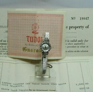 Vintage Ladies Tudor by Rolex Diamond Bezel Watch White Gold Plated - 17 Jewels