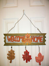 """Wood & Metal """"Welcome Home"""" Sign Wall Hanging Rustic Cabin 14.5"""" Long"""