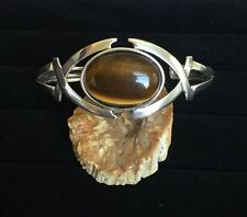 Sterling Silver Cuff Bracelet with 22 Carat Tiger Eye Gemstone