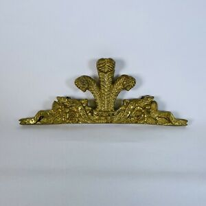 """Heavy Cast Metal ICH DIEN Gold Brass Picture Topper Wall Ornament 9"""""""