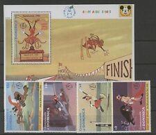 Walt Disney, Goofy - Dominica - 4 Werte, 1 Bl. ** MNH 1992 Teilsatz