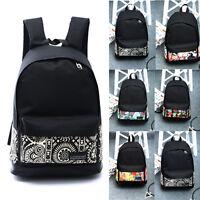Unisex Women Canvas Shoulder School Bag Backpack Travel Satchel Rucksack Handbag