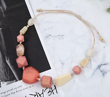 Geometric Chunky Statement Necklace, Pink Coral Cream, Exaggerate Elegant