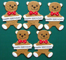 5 Happy Birthday Bear Toppers made from Hand Made Paper