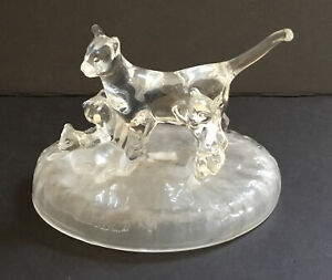 Vintage Kittens & Cat Figurine Cristal D'Arques France 24% Lead Clear Crystal