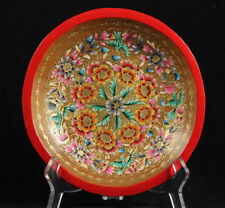 Wood Plate/Lacquer Ware Folk Art Mexico Collectible Award Winner Artisan 7 1/2""