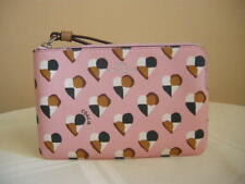 Authentic Coach F26614 Check Heart Corner Zip Wristlet Wallet Blush Multi