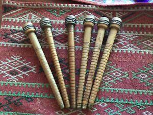 9 Vintage Antique Wooden Yarn Thread Cotton Wool Spool Spindle Bobbin Wood Loom