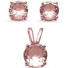 Rose Gold Plated Solitaire Morganite .925 Sterling Silver Earring & Pendant Set