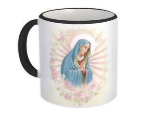 Gift Mug : Virgin Mary Catholic Religious Saint Floral